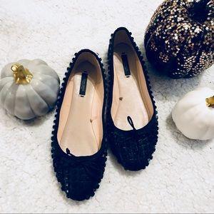 Zara Basic Black Studded Rounded Toe Ballet Flats